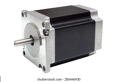 CNC drive stepping / stepper motor with NEMA standard flange, used for driving axes of CNC machines like 3D printers and routers on white background with clipping path