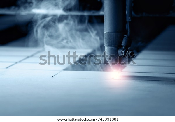 Cnc Laser Cutting Machine Wood Monochrome Stock Photo (Edit