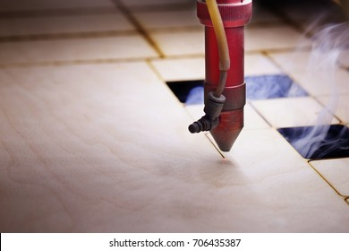 CNC Laser cutting wood. Modern machine industrial technology