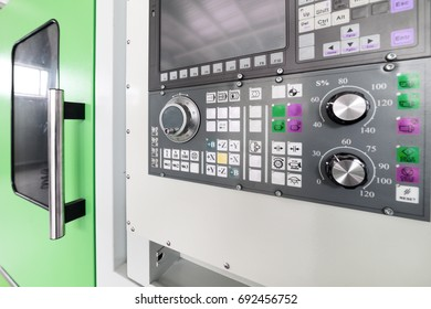 CNC machine control panel. Shallow depth of field.