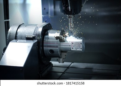 CNC Mechanical and technology industry 4.0. The process of turning with a cutting and milling tool the outer surface detail of the metalworking parts. - Shutterstock ID 1817415158