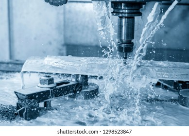 The  CNC milling machine cutting the mold part with the solid ball end mill tool.The hi-Technology manufacturing process.