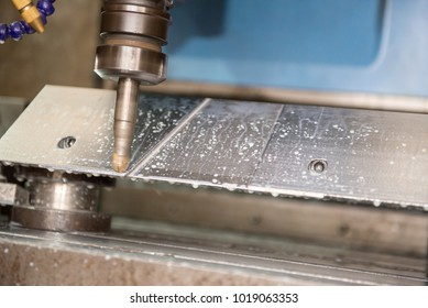 The CNC milling machine cutting the sample part by indexable tool.