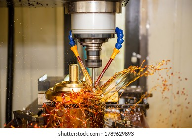 The CNC milling machine cutting the shell mold parts by solid end mill tools. The mold and die manufacturing process by CNC machining center.