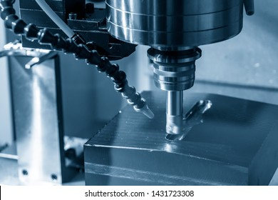 The CNC milling machine rough cutting with indexable radius endmill tools.The machining center cutting the injection mold parts.