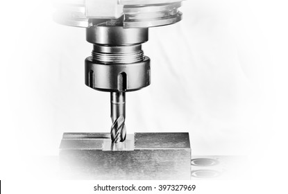 "cnc milling machine - spindle with cutter, Version: monochrome on a white background, ""Dreamy"" display with white borders"