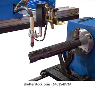 CNC pipe / tube cutting and beveling machine isolated on white background