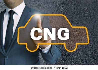 CNG auto touchscreen is operated by businessman concept.