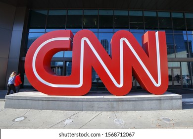 CNN Logo advertising the Cable News Network Center building located at 113 Centennial Olympic Parkway NW. CNN is an AT&T WarnerMedia Company,  - Atlanta, Georgia, USA - November 19, 2019