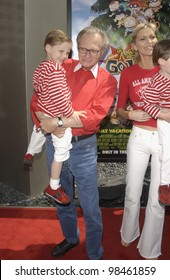 CNN talk-show host LARRY KING & family at the Los Angeles premiere of Rugrats Go Wild. June 1, 2003