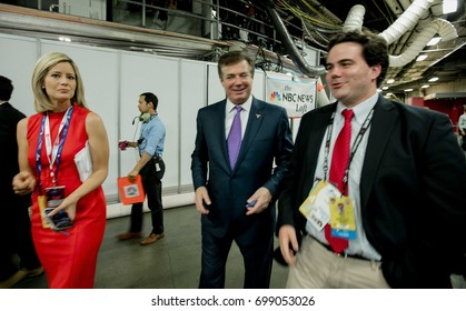 CNN's Kate Bolduan talking with Paul Manafort, Donald Trump's campaign manager backstage at the Republican National Convention in Cleveland Ohio, July, 2016. Credit Mark Reinstein