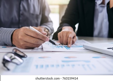 Co working conference, Business team meeting present, investor colleagues discussing new plan financial graph data on office table with laptop and digital tablet, Finance, accounting, investment.
