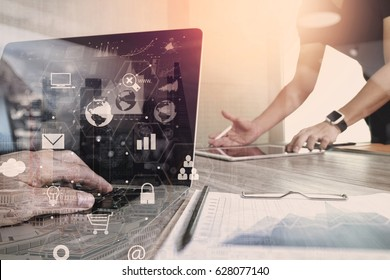 co working team meeting concept,businessman using smartphone and laptop and digital tablet computer in modern office with virtual interface icons network diagram