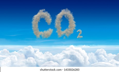 CO2 atmospheric pollution concept with dirty brown clouds spelling CO2 above a layer of pristine white clouds in a blue sky conceptual of emissions causing global warming