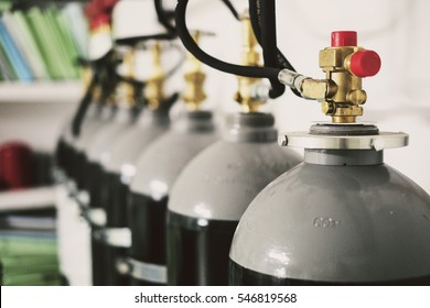 Co2 bottles for fire extinguishing in file documents basement