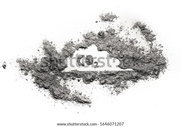 Dibujo de niebla tóxica de CO2 o dióxido de carbono en cenizas, polvo o suciedad como problema ambiental, calentamiento global, efecto invernadero, humo tóxico venenoso de la industria
