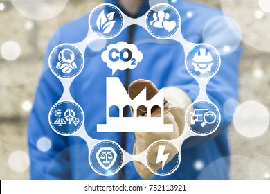 CO2 - Carbon Dioxide Manufacturing Emissions Reduction. Eco Industry concept. Industrial worker using virtual touchscreen presses factory cloud co2 button.