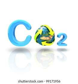 CO2 formula with green arrow recycle globe isolated on white background