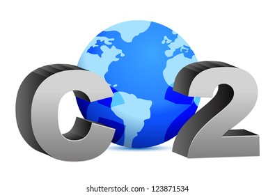 CO2 pollution in 3D's style illustration design over white