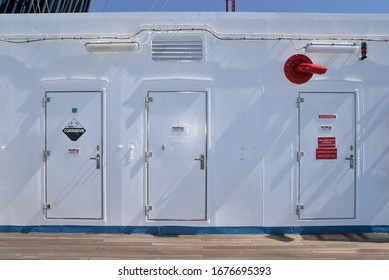 CO2 station room, fire hose and battery room doors on cruise liner open deck. march 2, 2020