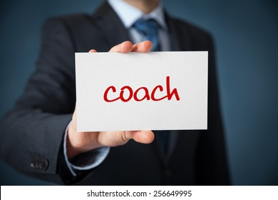 Coach advertisement concept. Man show card with text coach.