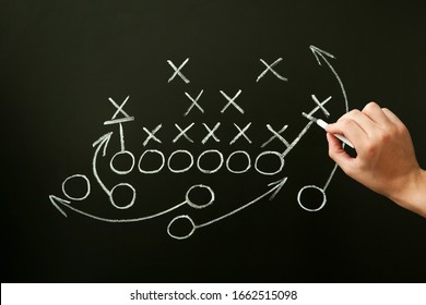 Coach drawing american football or rugby game playbook, strategy and tactics with chalk on blackboard.