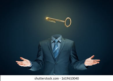 Coach has a key to unlock potential - motivation concept. Coach (manager, mentor, HR specialist) unlock potential represented by key.