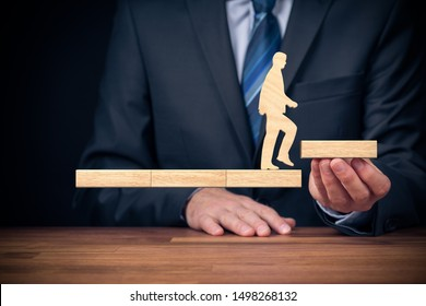 Coach motivate to personal development, personal and career growth, challenge and potential concepts. Coach (human resources officer, manager, mentor) motivate employee to leave comfort zone.
