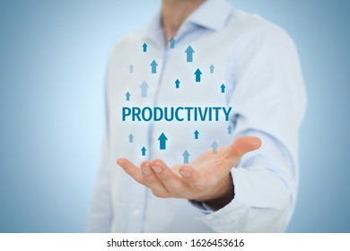 Coach motivate to productivity improvement. Manager (businessman, coach, leadership) plan to increase company productivity.