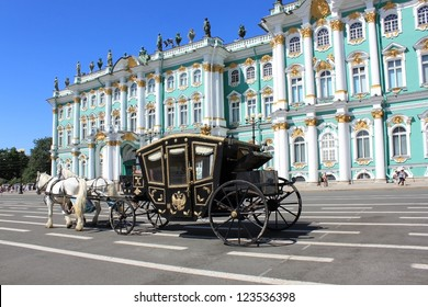 The coach for walks on the Palace Square in St. Petersburg, Russia