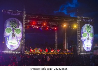 COACHELLA , CALIFORNIA - NOV 01 : Los Rieleros Del Norte band perform live on stage at the Dia De Los Muertos celebration in Coachella , California on November 01 2014