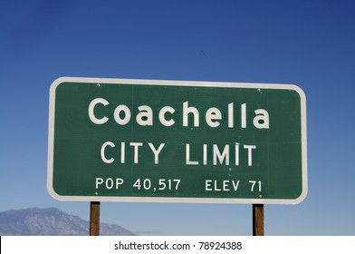 Coachella sign post in California