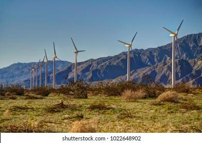 Coachella Valley Windmills with Mountain Backdrop