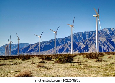 Coachella Valley Windmills with Mountain Backdrop