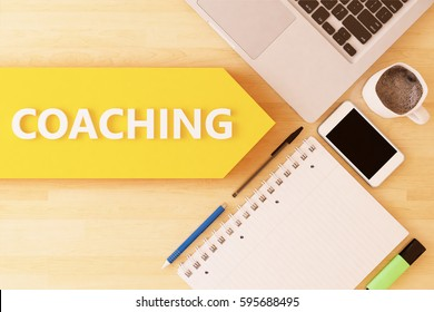 Coaching - linear text arrow concept with notebook, smartphone, pens and coffee mug on desktop - 3d render illustration.