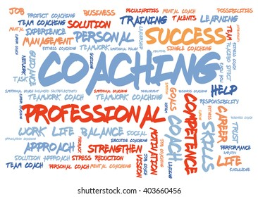 Coaching word cloud on white background