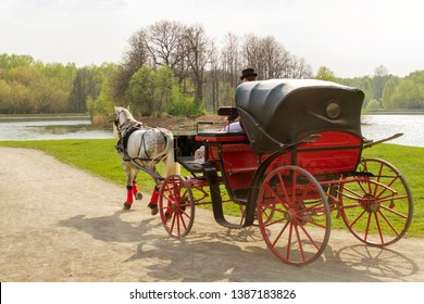 Coachman in cloak sits in coach with horse and hold reins in spring park