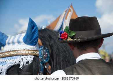 The coachman in a traditional hat at the Oktoberfest, Munich, Germany.