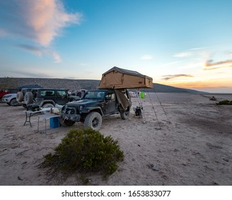 Coahuila, Mexico. February 22, 2020.  Off road jeep  vehicle  with a roof tent in a  desert camp site.
