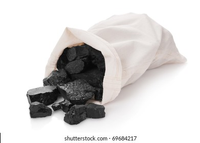 Coal in a bag on a white background