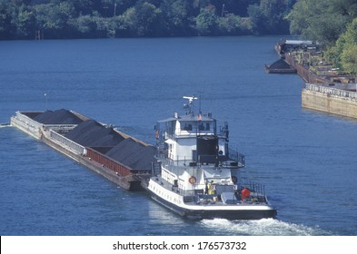 Coal barge on the Kanawha River in Charleston, West Virginia
