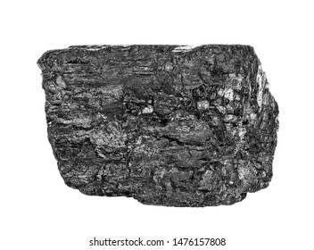 Coal briquette isolated on white background, close up.