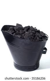 Coal bucket on white