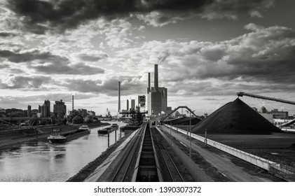 Coal burning power station with dramatic sky