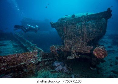 Coal carriage on the deck of Thistlegorm wreck. Northern Red Sea.