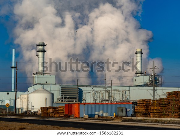 A coal fired power generating facility in the Boardman industrial park, Oregon.