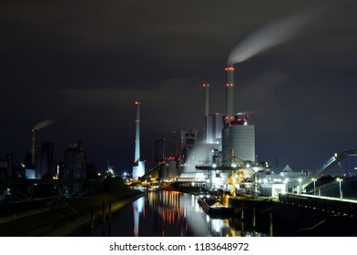 Coal fired power plant in Mannheim Germany. Long exposure at night.