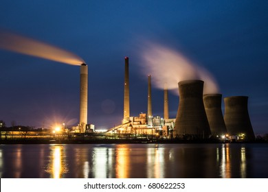 Coal Fired Power Plant at Night