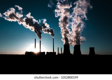 coal fired power station silhouette at sunset, Pocerady, Czech republic