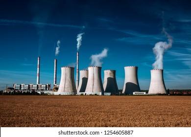 coal fired power station at sunrise, Pocerady, Czech republic